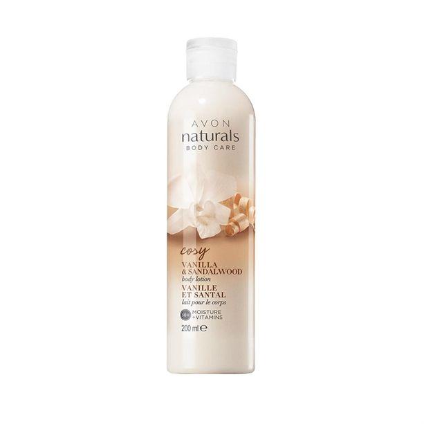 Hydratační tělové mléko Avon Naturals s vanilkou a santalovým dřevem 200ml