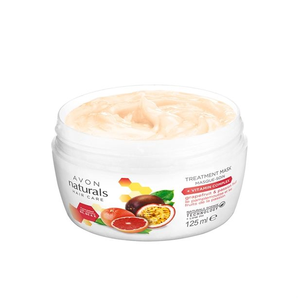 MASKA NA VLASY NATURALS s grapefruitem a marakujou pro poškozené a barvené vlasy 125ml Avon