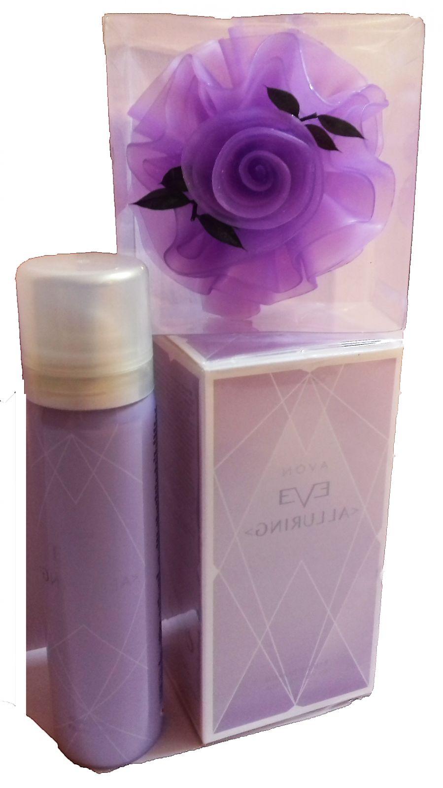 Avon Eve Alluring Dárková sada parfém/tělový sprej/mýdlová růže