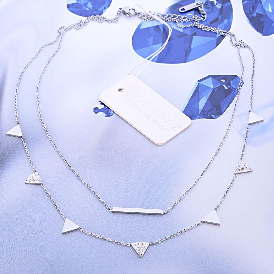 Řetízek z chirurgické oceli s trojúhelníkami ARCON BIJOUX