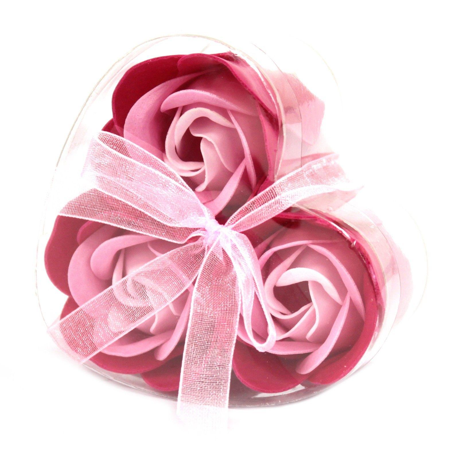 Sada 3 Mýdlových Květů - Růžové Růže AWGifts
